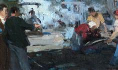 Анатолий Ненартович. Укладка асфальта в Лениграде. Карт.м.,14х35. 1961