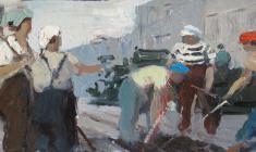 Анатолий Ненартович. Асфальт на улице. Карт.м.,16х35,5. 1959