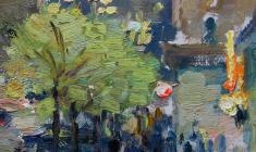 Дмитрий Обозненко. Улица Горького вечером. Карт.м.,24,3х20. 1954
