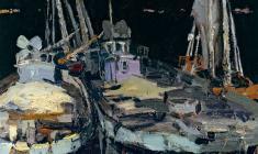 Владимир Овчинников. Лодки ночью. Х.м.,51,5х41. 1958