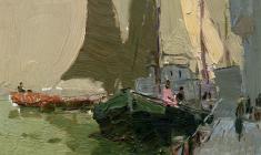 Владимир Овчинников. Каспий. Рыбацкие лодки. Карт.м.,16,2х17,7. 1959