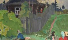 Владимир Овчинников. Деревенская улица. Х.м.,70х60. 1967