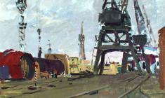 Владимир Овчинников. В порту. Карт.м.,35х50. 1955