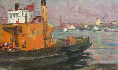 Владимир Овчинников. В морском порту. Карт.м.,35,2х50,4.,1955