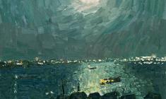 Владимир Овчинников. Лунная ночь на Волге. Х.м.,60х70. 1975