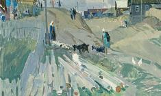 Владимир Овчинников. Улица в Пристанном. Х.м. 60х70. 1966