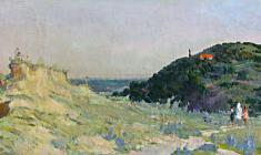 Владимир Овчинников. Вид на гору Шевченко. Х.м.,21х70. 1951