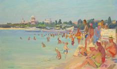 Лев Орехов. Пляж в Пицунде. Карт.м.,35х48. 1956