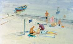 Лев Орехов. На пляже. Карт.м.,35х48. 1956