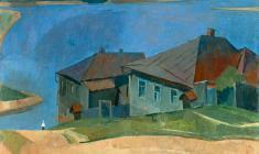 Сергей Осипов. Домики на Волге. Х.м.,57х66. 1959
