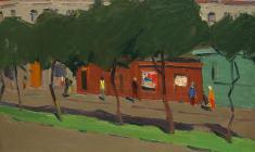 Сергей Осипов. Улочка в Пскове. Карт.м.,35х49,4. 1966