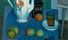 Сергей Осипов. Натюрморт с белым чайником. Х.м.,70х60. 1972