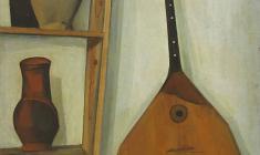 Сергей Осипов. Натюрморт с балалайкой и полочкой. Х.м.,81х63. 1970