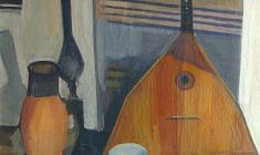 Сергей Осипов. Натюрморт с ковром. Х.м.,88х71. 1961