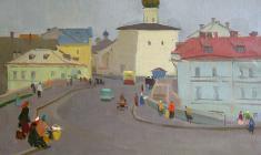 Сергей Осипов. Улица в Пскове. Х.м.,50,5х69,5. 1951
