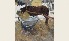 Виктор Отиев. Этюд с лошадью. Карт.м.,48х33. 1965