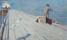 Николай Позднеев. На причале. Х.м.,81х121. 1959