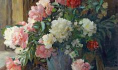 Евгений Поздняков. Пионы. Х.м.,76,5х83,5. 1959