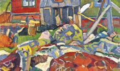 Николай Позднеев. Красные камни. Х.м.,80х60. 1967