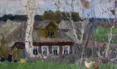 Николай Позднеев. Этюд с домом. Карт.м.,39,5х52. 1969