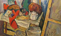 Николай Позднеев. Натюрморт. В мастерской. Х.м.,86х101,5. 1969