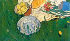 Николай Позднеев. Натюрморт в траве. Х.м.,64,5х80. 1964