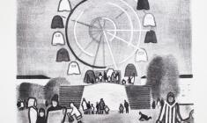 Вальцефер В.А. Праздничный день в парке. Литография. 1970.