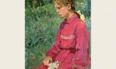 Мария Рудницкая. Девочка в саду. Карт. м., 69х49. 1963