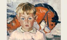 Лев Русов. Андрей с лошадкой. Карт.м.,44х56. 1963