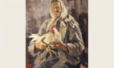 Лев Русов. Тётя Поля с курицей. Х.м.,108х84. 1961