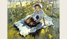 Лев Русов. Девочка с бантиками. Х.м.,83х101. 1954