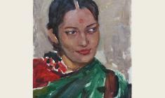Лев Русов. Индийская девушка. Карт.м.,43,2х32. 1957