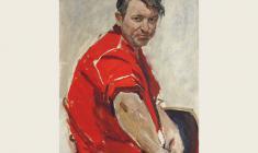 Лев Русов. Мужчина в красной рубашке. Карт.м., 80х50. 1973