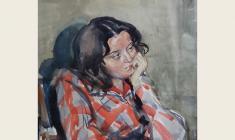 Лев Русов. Портрет девушки. Бум.акв.,31,5х33. 1958