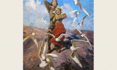 "Лев Русов. Песня Тиля. Из серии ""Тиль Уленшпигель"". Х.м.,100х75. 1956"