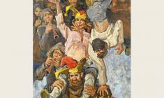 Лев Русов. Жонглёры. Х.м.,175х130. 1976