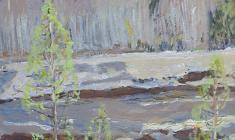 Иван Савенко. Сибирская река. Карт.м.,29х23,5.,1975