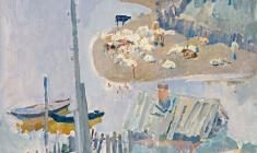 Г. Савинов. Пейзаж со стадом. Х.м.,70х83,5. 1967