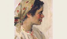 Александр Соколов.  Девушка в платке. Карт.м.,35х24,5. 1952
