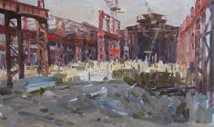 Александр Соколов.  Металлургический завод в ремонте. Карт.м.,32,5х47. 1960
