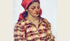 Александр Соколов.  Женщина в красном платке. Карт.м.,35х25. 1952