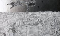 В. Солодкий. Белая ночь. Картон, карандаш, фольга, 59х29. 2011