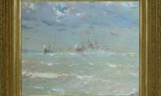 """Евгений Чупрун (1927 - 2005). """"Полтава"""" и """"Предестинация"""" у Ревеля. Х.м., 55х67. 1996.  Цена по запросу.  Evgeny Ghuprun. """"Poltava"""" and """"Pridistancia"""" on the Revel stead. Oil on canvas. Price on request. 耶夫盖尼  楚布伦"""