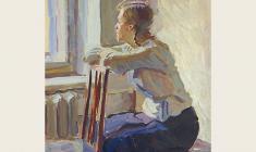 А. Шмидт. У  окна. Карт.м., 39х29,5. 1954