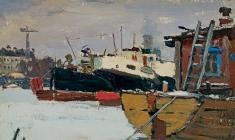 Н. Штейнмиллер. Лодки на Неве. Карт.м., 15х21,3. 1947