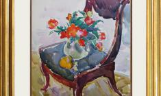Евгения Антипова (1917 - 2009). Тюльпаны на кресле. Бум.,акв., 83,5х63,5. 1967. Цена по запросу. Evgenia Antipova. Tulips at the Chair. Watercolor. Price on request.