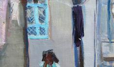 Владимир Саксон. Маленький дворик в Бухаре. Х.м.,40,5х23. 1962