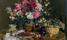 Е. Скуинь. Цветы и вишня. Х.м.,75х100. 1956