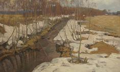Г. Татаринов.  Апрельский ручей.  Карт.м.,50х70. 1970