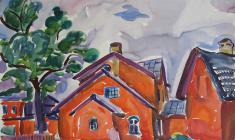 В. Тетерин.  Красные дома.  Бум.,акв.,44,5х65. 1966